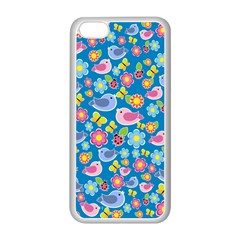 Spring pattern - blue Apple iPhone 5C Seamless Case (White)