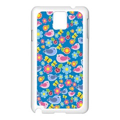 Spring pattern - blue Samsung Galaxy Note 3 N9005 Case (White)