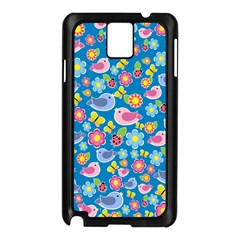 Spring pattern - blue Samsung Galaxy Note 3 N9005 Case (Black)