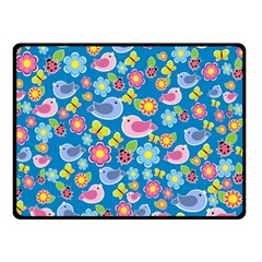Spring pattern - blue Double Sided Fleece Blanket (Small)