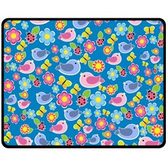 Spring pattern - blue Double Sided Fleece Blanket (Medium)