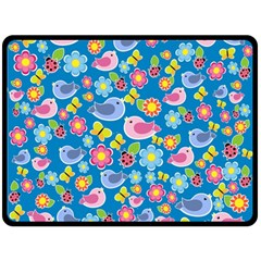 Spring pattern - blue Double Sided Fleece Blanket (Large)