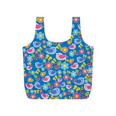 Spring pattern - blue Full Print Recycle Bags (S)