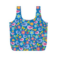 Spring pattern - blue Full Print Recycle Bags (M)