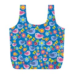 Spring pattern - blue Full Print Recycle Bags (L)