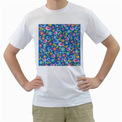Spring pattern - blue Men s T-Shirt (White)