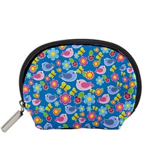Spring pattern - blue Accessory Pouches (Small)
