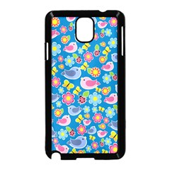 Spring pattern - blue Samsung Galaxy Note 3 Neo Hardshell Case (Black)