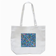 Spring pattern - blue Tote Bag (White)