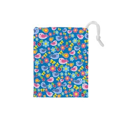 Spring pattern - blue Drawstring Pouches (Small)