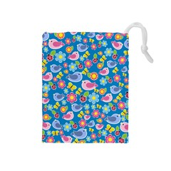 Spring pattern - blue Drawstring Pouches (Medium)