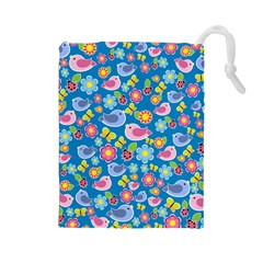 Spring pattern - blue Drawstring Pouches (Large)