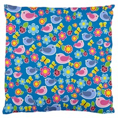 Spring pattern - blue Large Flano Cushion Case (One Side)