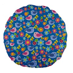 Spring pattern - blue Large 18  Premium Flano Round Cushions