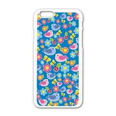Spring pattern - blue Apple iPhone 6/6S White Enamel Case