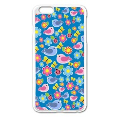 Spring pattern - blue Apple iPhone 6 Plus/6S Plus Enamel White Case