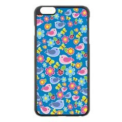 Spring pattern - blue Apple iPhone 6 Plus/6S Plus Black Enamel Case