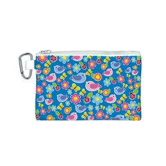 Spring pattern - blue Canvas Cosmetic Bag (S)