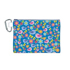 Spring pattern - blue Canvas Cosmetic Bag (M)