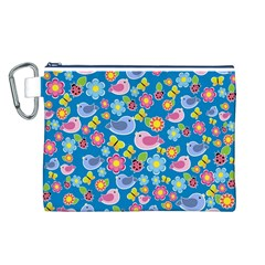 Spring pattern - blue Canvas Cosmetic Bag (L)