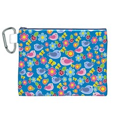 Spring pattern - blue Canvas Cosmetic Bag (XL)