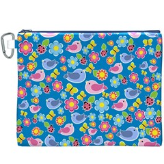 Spring pattern - blue Canvas Cosmetic Bag (XXXL)