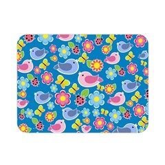 Spring pattern - blue Double Sided Flano Blanket (Mini)