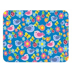 Spring pattern - blue Double Sided Flano Blanket (Large)