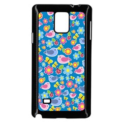Spring pattern - blue Samsung Galaxy Note 4 Case (Black)