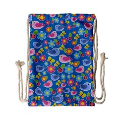 Spring pattern - blue Drawstring Bag (Small)