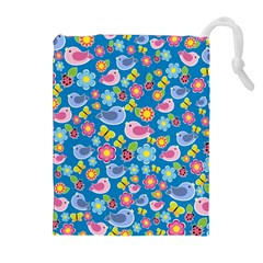 Spring pattern - blue Drawstring Pouches (Extra Large)