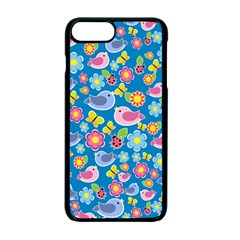 Spring pattern - blue Apple iPhone 7 Plus Seamless Case (Black)
