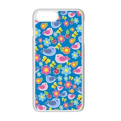 Spring pattern - blue Apple iPhone 7 Plus White Seamless Case