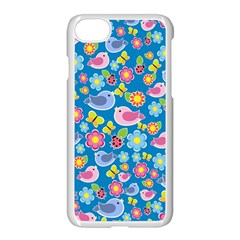 Spring pattern - blue Apple iPhone 7 Seamless Case (White)