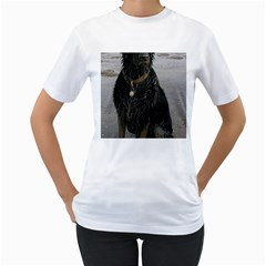 Flat Coated Retriever Muddy Wet Women s T-Shirt (White) (Two Sided)
