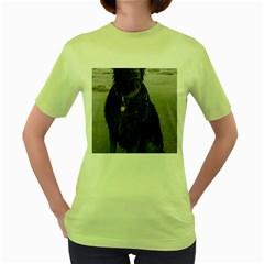 Flat Coated Retriever Muddy Wet Women s Green T-Shirt