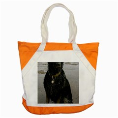 Flat Coated Retriever Muddy Wet Accent Tote Bag