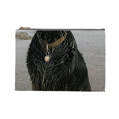 Flat Coated Retriever Muddy Wet Cosmetic Bag (Large)