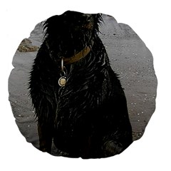 Flat Coated Retriever Muddy Wet Large 18  Premium Flano Round Cushions