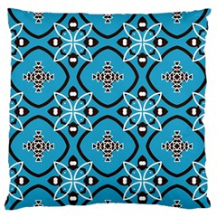 Ornamental flowers pattern                                                         Large Flano Cushion Case (Two Sides)
