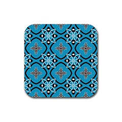 Ornamental flowers pattern                                                         			Rubber Square Coaster (4 pack