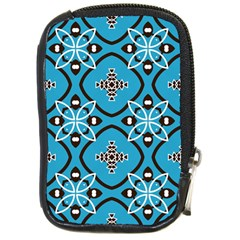 Ornamental flowers pattern                                                         			Compact Camera Leather Case