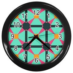 Pink stars pattern                                                          Wall Clock (Black)