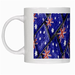 Australian Flag Urban Grunge Pattern White Mugs