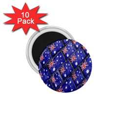 Australian Flag Urban Grunge Pattern 1.75  Magnets (10 pack)