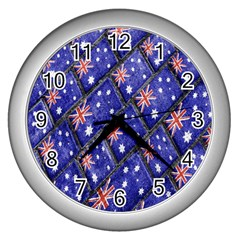 Australian Flag Urban Grunge Pattern Wall Clocks (Silver)