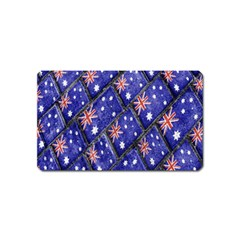 Australian Flag Urban Grunge Pattern Magnet (Name Card)