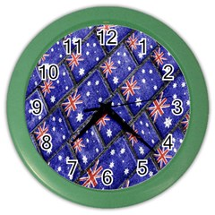 Australian Flag Urban Grunge Pattern Color Wall Clocks