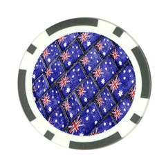 Australian Flag Urban Grunge Pattern Poker Chip Card Guard (10 pack)