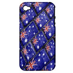 Australian Flag Urban Grunge Pattern Apple iPhone 4/4S Hardshell Case (PC+Silicone)